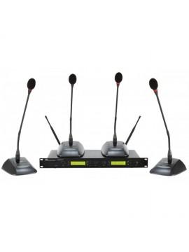 Sistema s/ fios de conferência PROEL c/ 4 micros